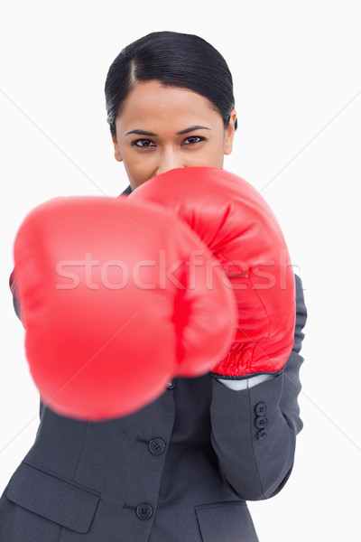 Close up of saleswoman with boxing gloves attacking against a white background Stock photo © wavebreak_media