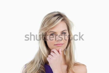 Ciddi sarışın kadın bakıyor kamera beyaz el Stok fotoğraf © wavebreak_media