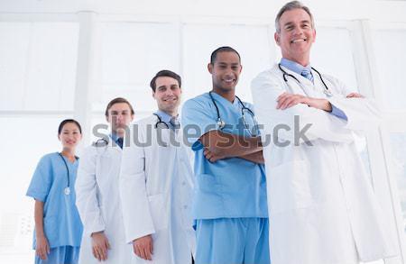 Zdjęcia stock: Uśmiechnięty · lekarza · szpitala · korytarz