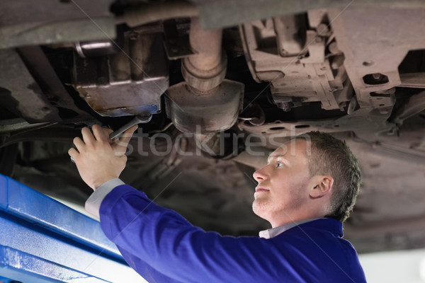 Mechanic repairing the below of a car in a garage Stock photo © wavebreak_media