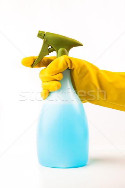 Main spray bouteille lavage gants Photo stock © wavebreak_media