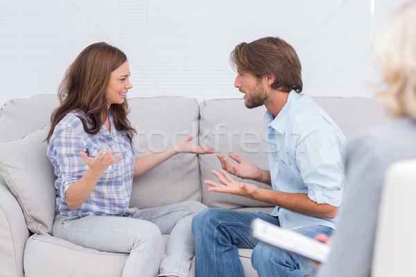 Casal terapeuta escuta deprimido triste Foto stock © wavebreak_media