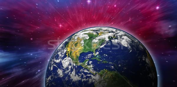 összetett kép Föld világűr térkép csillagok Stock fotó © wavebreak_media