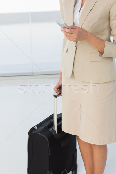 Mid section of businesswoman text messaging while on business tr Stock photo © wavebreak_media