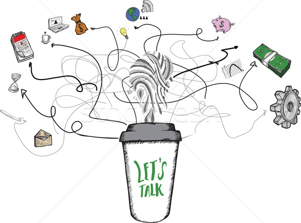 Lets talk concept on coffee cup Stock photo © wavebreak_media
