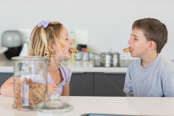 Testvérek sütik száj konyhapult boldog játékos Stock fotó © wavebreak_media