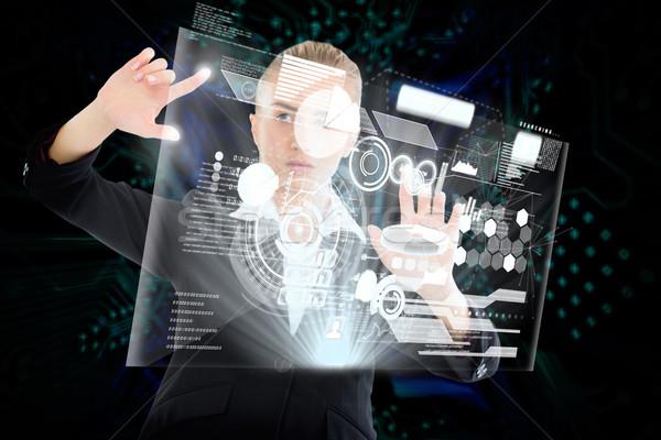 Blond zakenvrouw aanraken interface digitale composiet computer Stockfoto © wavebreak_media