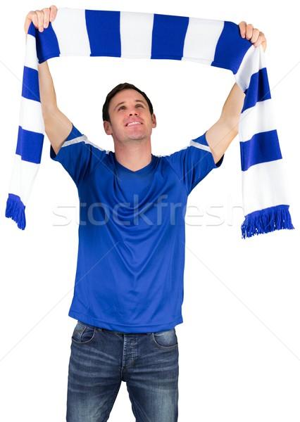 Futbol fan mavi eşarp beyaz Stok fotoğraf © wavebreak_media