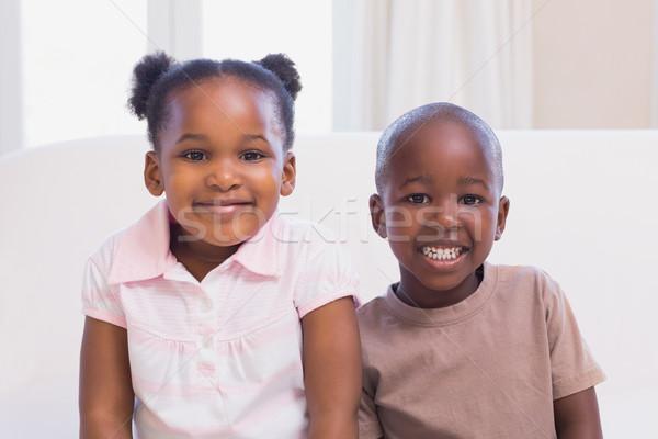 Boldog testvérek mosolyog kamera együtt otthon Stock fotó © wavebreak_media