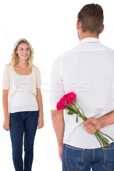 человека сокрытие букет роз белый Сток-фото © wavebreak_media