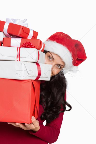 Stockfoto: Vrouw · veel · christmas · presenteert · witte