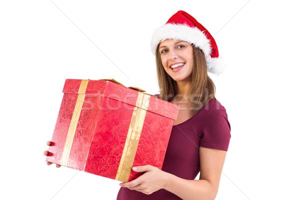 Stockfoto: Jonge · vrouw · hoed · geschenkdoos · witte