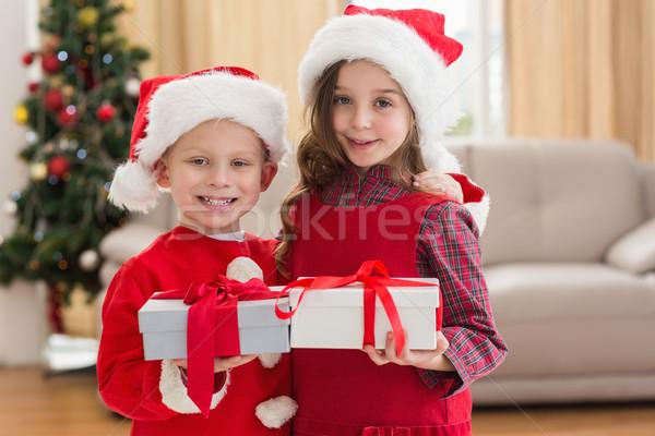 ünnepi kicsi testvérek tart ajándékok otthon Stock fotó © wavebreak_media