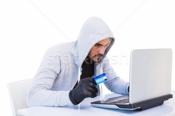 Betörő online vásárlás laptop hitelkártya fehér férfi Stock fotó © wavebreak_media