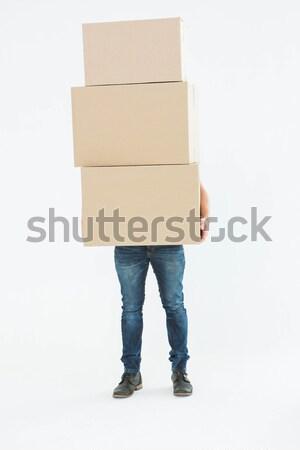 Stock foto: Kurier · Mann · tragen · Karton · Boxen