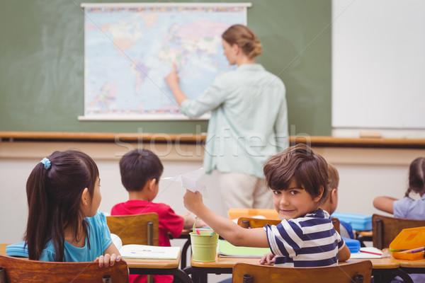 Papierflieger Klasse Grundschule Schule Kind Stock foto © wavebreak_media