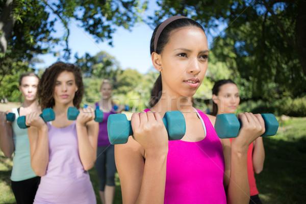 Fitness grupy strony wagi parku Zdjęcia stock © wavebreak_media