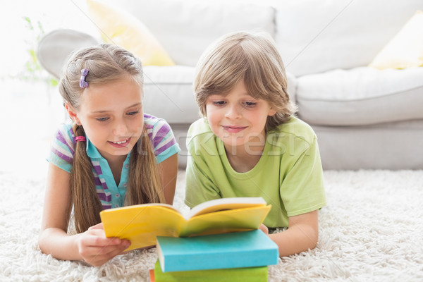 Siblings reading book while lying on rug Stock photo © wavebreak_media