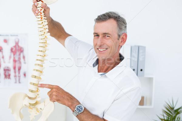 Stock fotó: Mosolyog · orvos · mutat · anatómiai · gerincoszlop · klinika