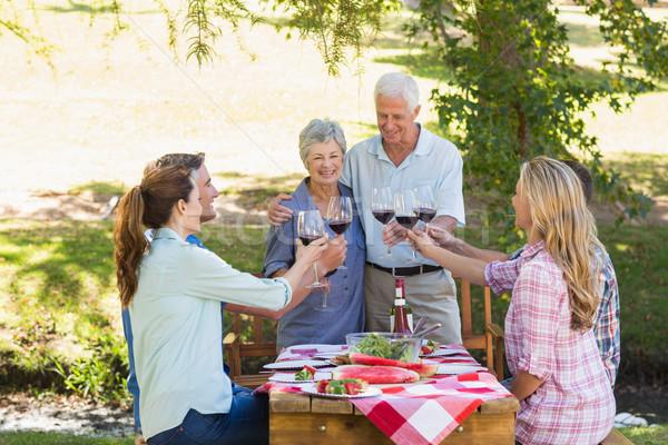 Boldog idősek pirít család napos idő tavasz Stock fotó © wavebreak_media