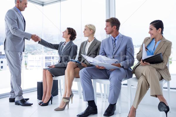 Zakenlieden wachten interview kantoor man pak Stockfoto © wavebreak_media