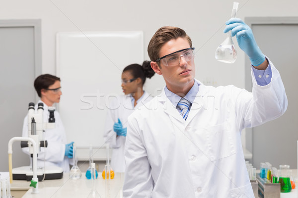 Scientist looking at white precipitate while colleagues talking  Stock photo © wavebreak_media