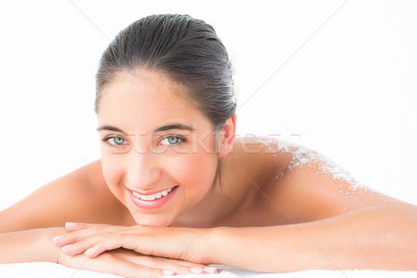 Mooie brunette genieten zout behandeling Stockfoto © wavebreak_media