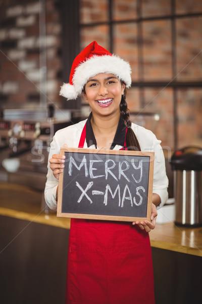 Mooie serveerster schoolbord vrolijk kerstmis portret Stockfoto © wavebreak_media