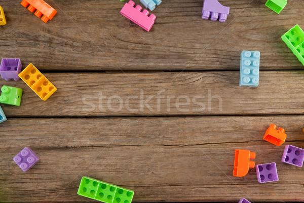 építőkockák asztal kilátás fa asztal fa fitnessz Stock fotó © wavebreak_media