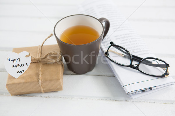 High angle view of coffee cup with fathers day gifts Stock photo © wavebreak_media