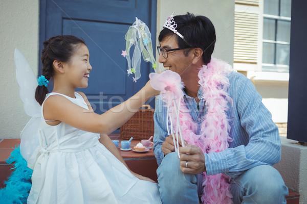 Baba kız peri kostüm ev çocuk Stok fotoğraf © wavebreak_media