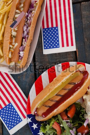 97951c1ae541  8328076 Hot dog served in plate with 4th july theme by wavebreak media  Stock photo