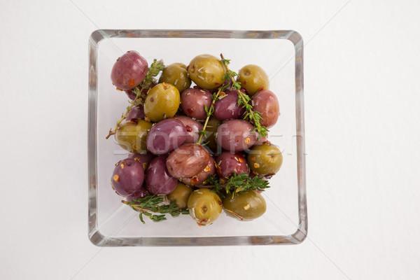Olijven kruiden geserveerd glas kom Stockfoto © wavebreak_media