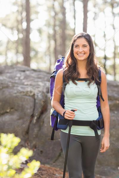 Genç mutlu jogging yapan bakıyor mesafe doğa Stok fotoğraf © wavebreak_media