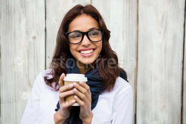 Hipszter nő kávé fából készült boldog tea Stock fotó © wavebreak_media
