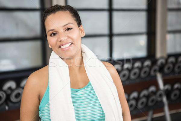 Donna sorridente abbigliamento sportivo palestra fitness club studio Foto d'archivio © wavebreak_media
