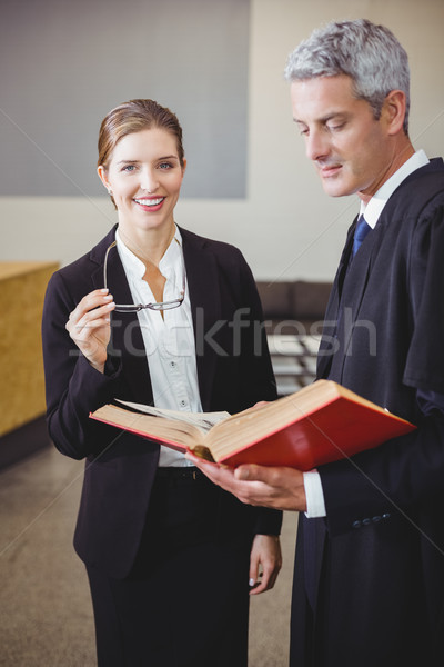 Feminino advogado em pé masculino colega feliz Foto stock © wavebreak_media