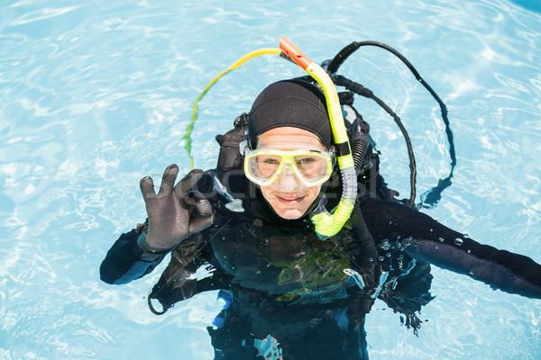 Young woman on scuba training Stock photo © wavebreak_media