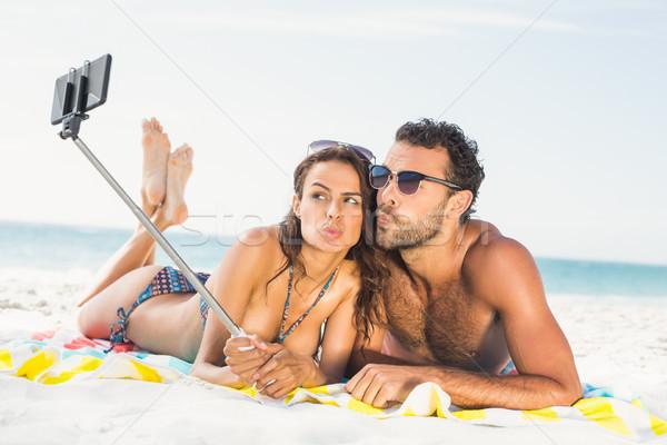 Couple taking selfie at the beach Stock photo © wavebreak_media
