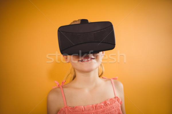 Stok fotoğraf: Kız · sanal · gerçeklik · sarı · mutlu
