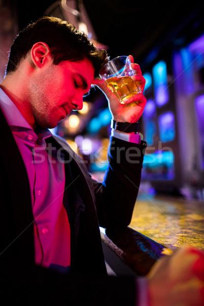 Bunalımlı adam viski bar karşı içmek Stok fotoğraf © wavebreak_media