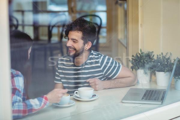 счастливым пару говорить кофейня любви Сток-фото © wavebreak_media