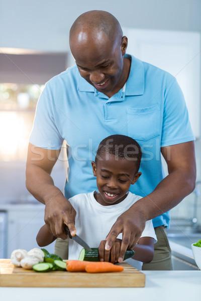 отцом сына кухне человека ребенка домой Сток-фото © wavebreak_media