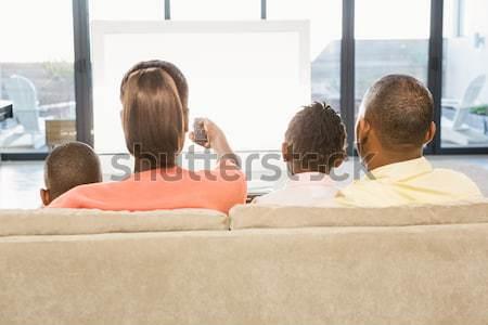 Család tv nézés ül kanapé otthon lány Stock fotó © wavebreak_media