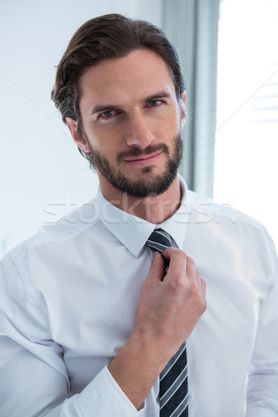 Man adjusting a tie in bedroom Stock photo © wavebreak_media