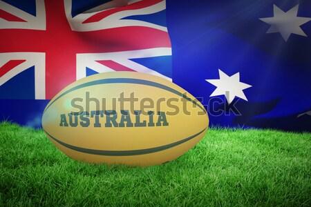 Gold football against close-up of grass mat Stock photo © wavebreak_media
