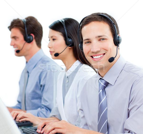 Hırslı müşteri hizmetleri çalışma call center beyaz bilgisayar Stok fotoğraf © wavebreak_media
