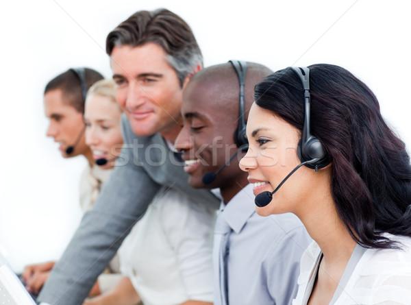 Charismatische manager team werken call center witte Stockfoto © wavebreak_media