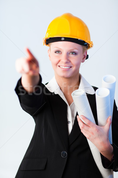 Female Construction worker pointing Stock photo © wavebreak_media