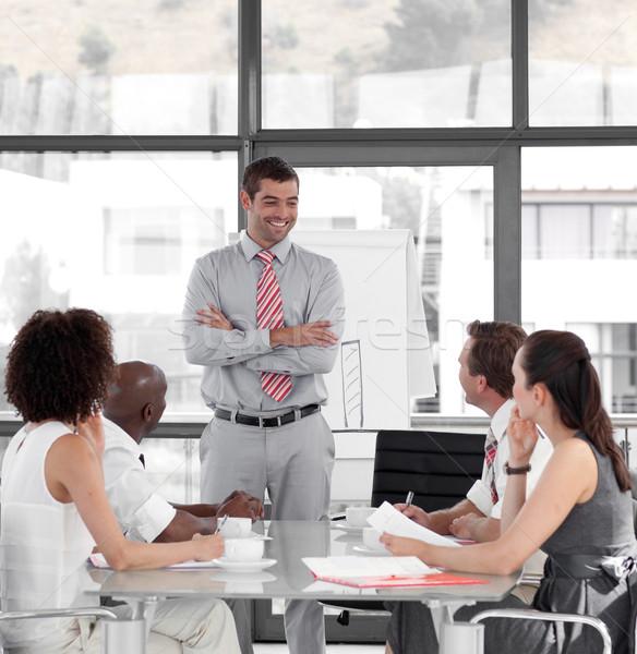 ストックフォト: ビジネスマン · プレゼンテーション · 小さな · 背景 · スピーカー · 会議